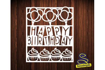 Paper cut Template /Birthday card