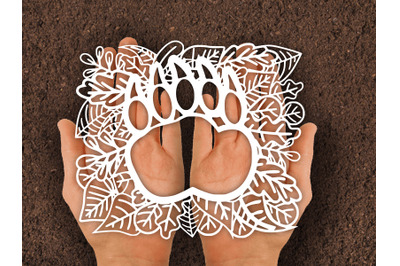 Paper cut Template / Bear paw leafs