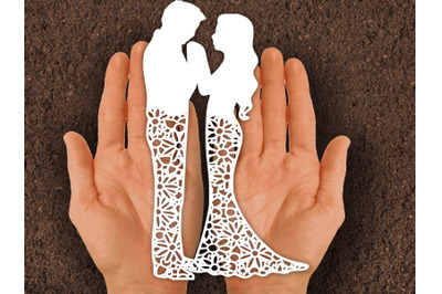 Paper cut Template / wedding couple