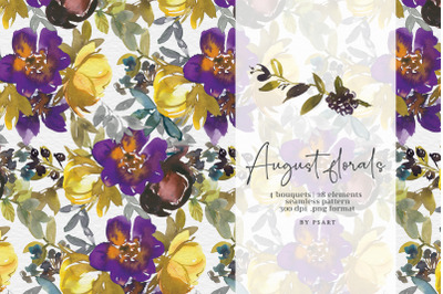 Watercolor Autumn Floral Clipart Set