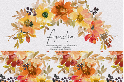 Watercolor Autumn Floral Clipart