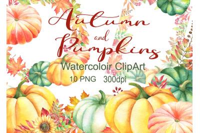 Watercolor autumn clipart pumpkins leaves clip art frames borders png