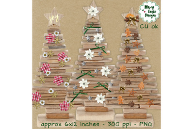 Realistic Christmas Trees from Wood
