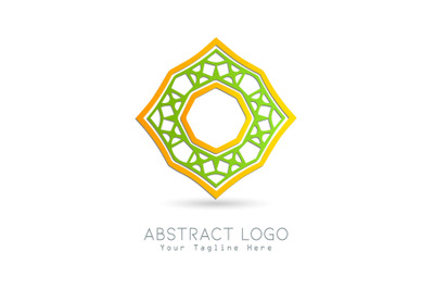 Logo Abstract Gold Combination Gradation Green