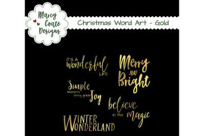 Christmas Gold Words Clipart