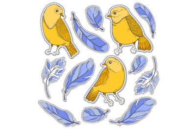 Sticker bird and feather set