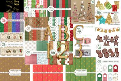 Big Christmas Bundle, Backgrounds & Clipart
