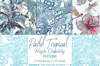 Pastel tropical patterns set
