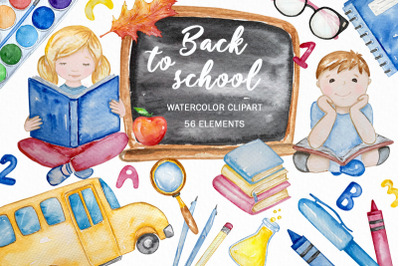 Back to School watercolor clipart