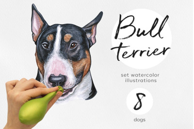 Bull terrier. Watercolor dogs illustrations set. Cute 8 dogs