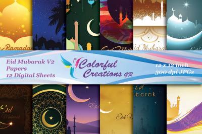 Eid Mubarak Digital Papers, Islamic designs, Muslim scrapbook papers,