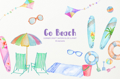 Watercolor Clipart Go Beach