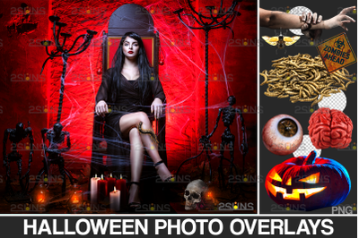 Halloween overlay & Pumpkin clipart, Photoshop overlay, Skull png