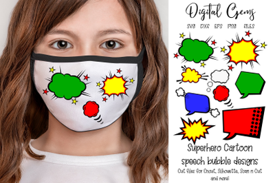Superhero speech bubble designs