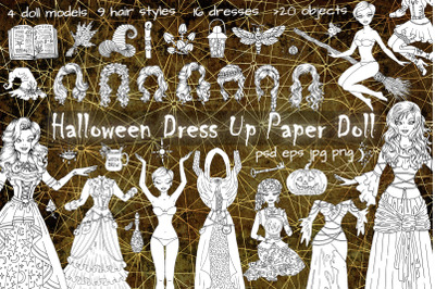 Halloween Dress Up Paper Doll