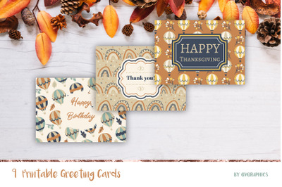 9 Fall Greeting Cards, Printable Thanksgiving, Birthday Cards