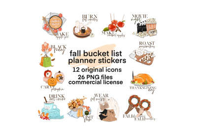 Fall stickers fall clipart printable stickers planner printable sticke