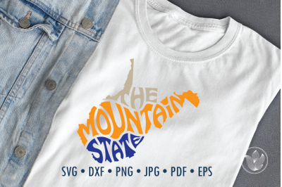 The mountain State West Virginia Svg Dxf Eps Png Jpg, Cut file