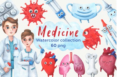 Medicine. Collection of children's, watercolor illustrations.