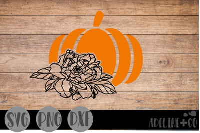 Pumpkin and flowers, SVG, PNG, DXF
