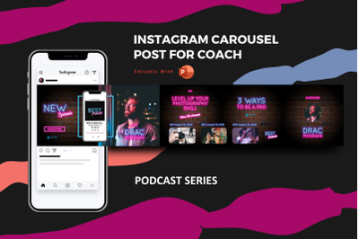 Podcast coach -  instagram carousel powerpoint template
