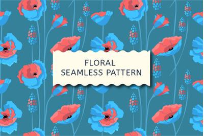 Floral pattern. Blue, coral color flowers.