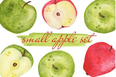 Small watercolor apple set