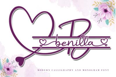 Benilla - Lovely Monogram with Script Font