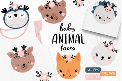 Cute animal faces and patterns