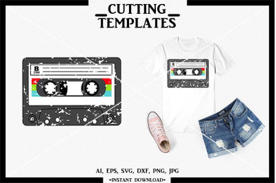 Cassette Tape SVG, Retro SVG, Distressed, Cricut, Cameo, SVG