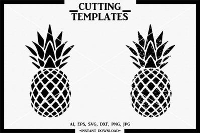 Pineapple, Distressed Pineapple SVG, Cricut, Cameo, Cut File