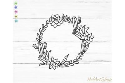 cactus frame svg, succulent wreath svg