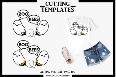 Boo Bees SVG, Halloween SVG, Silhouette, Cricut, Cameo, SVG