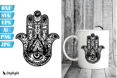 Hamsa Hand the Hand of Fatima SVG PNG EPS JPEG DXF AI