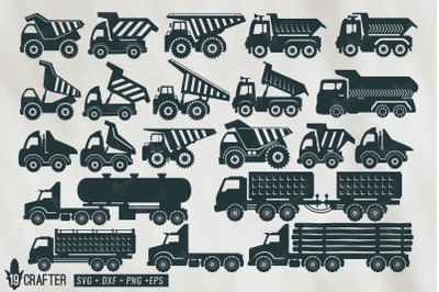 haul truck, dump truck, gasoline tank truck svg bundle
