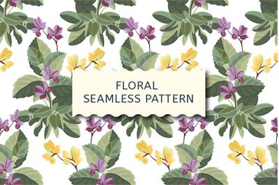 Floral pattern. Yellow, purple flowers, green foliage.