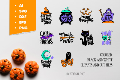Halloween Chill Thrills Sticker Pack Cut-files and Clipart