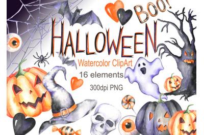 Watercolor halloween clipart autumn digital ghost pumpkin spider skull