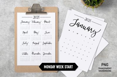Calendar 2021 A4 Monday Start