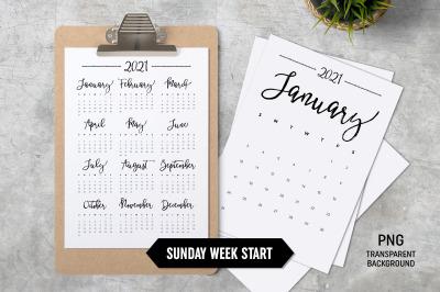 Calendar 2021 A4 Sunday Start