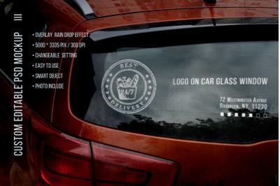 Logo on car glass window Mockup