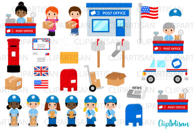 Post Office Clip Art, Mail Carrier, Mail Truck, Mailbox