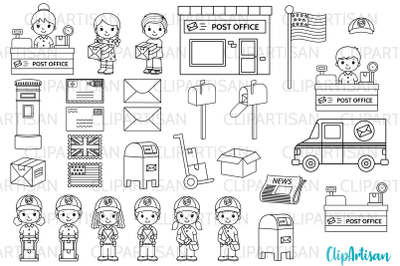 Post Office Clip Art, Mail Carrier Digital Stamps