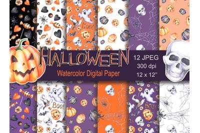 Watercolor digital paper pack Halloween spider seamless pattern pumpki