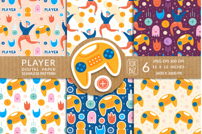 Gamer, player seamless patterns. JPEG, EPS.