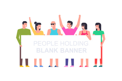 People with banner