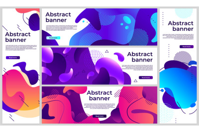 Abstract gradient banners. Gradient fluid flye colored