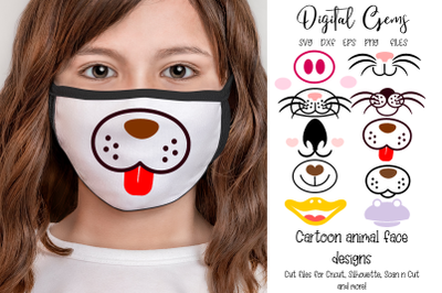 Animal faces, face mask designs.