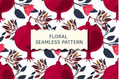 Floral seamless pattern. Pomegranates.