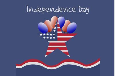 American star symbol with balloon illustration